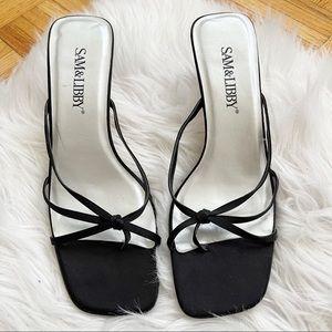SAM & LIBBY thong heel sandals size 8.5 black